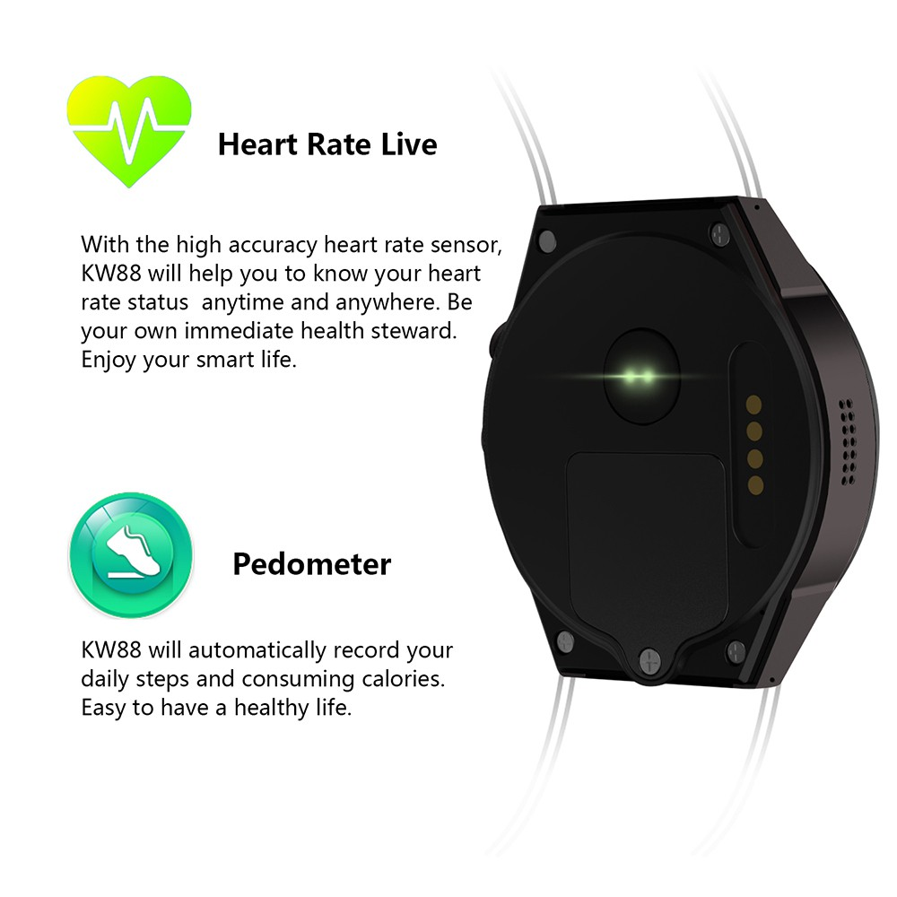 Lemfo KW88 MTK6580 Android 5 1 OS Smart Watch Phone 400*400 Screen