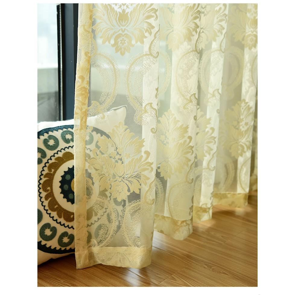 เจาะผ้าม่านหน้าต่างเส้นด้ายลูกไม้ติดตั้งผ้าม่านผ้าสำเร็จรูปห้องนอนอ่าวหน้าต่างห้องนั่งเล่น Tulle ตาข่ายกลวง