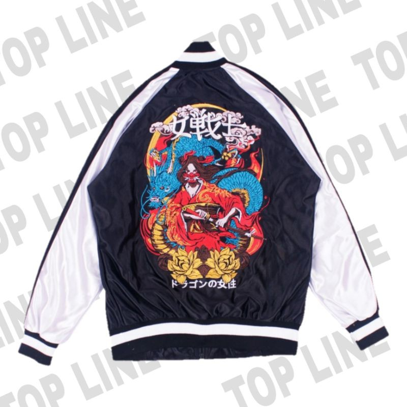 Sukajan - เสื้อแจ็คเก็ตลายมังกร / สีดํา / ซูกาจัน / Erigo / Latest Jacket Erigo / ส่วนล่าสุด / แจ็คเก็ตล่าสุด