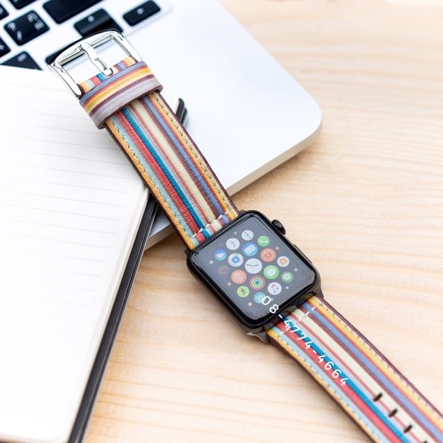 โปรโมชั่น สายนาฬิกาแอปเปิลวอช Paul Smith Multi Stripe Apple Watch Strap ราคาถูก สาย นาฬิกา สาย นาฬิกา garmin สาย นาฬิกา