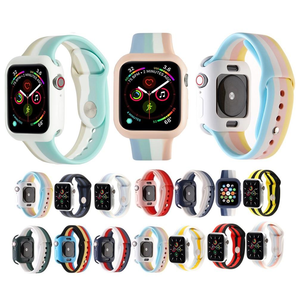 ใหม่ สายรุ้ง สีเดียวกัน Apple Watch เคส + สายนาฬิกา Apple Watch Series 6 5 4 3 2 1, Apple Watch SE size 38mm,40mm,42mm,44mm Same Color Silicone สายนาฬิกา Apple Watch and soft silicone เคส  Apple Watch 5