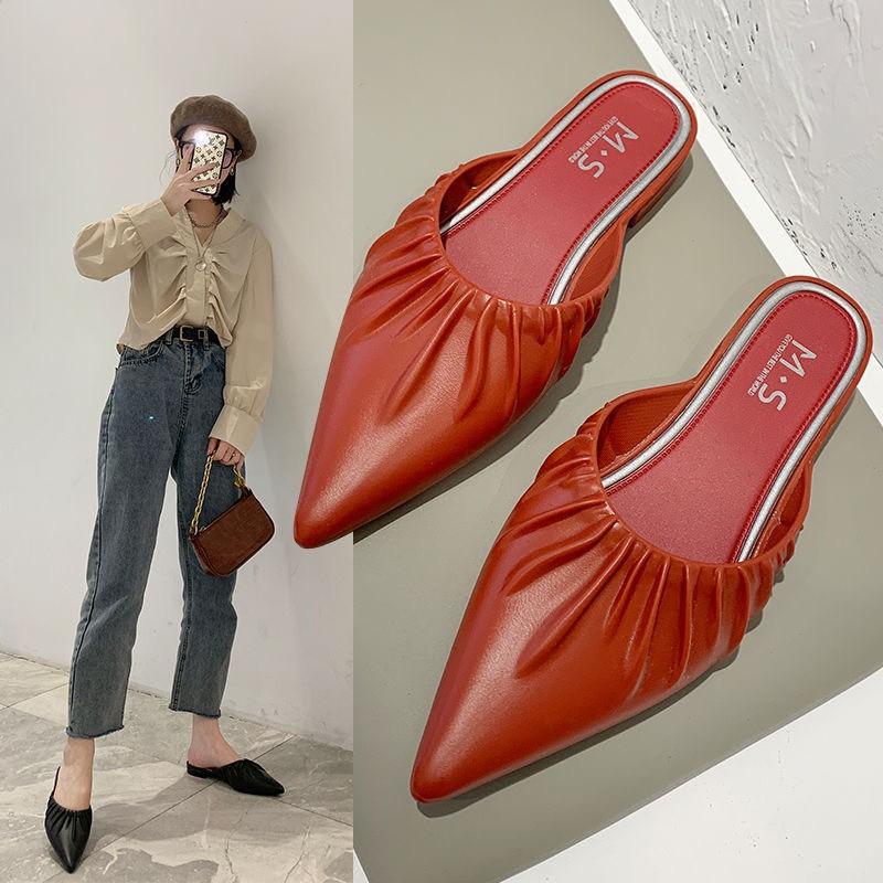 เปิดส้น❤️รองเท้าส้นแบนหัวแหลม รองเท้าคัชชู หัวแหลม รองเท้าผู้หญิง รองเท้าหญิงแฟชั่น รองเท้าปิดหัวเปิดส้น แบบสวยพื้นนิ่ม