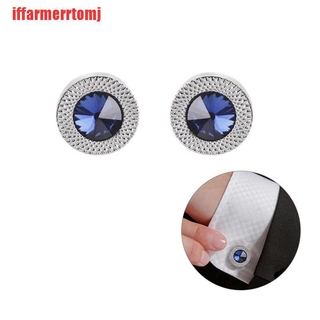 (ERH-COD)Fashion Women Blue White Cufflinks Crystal Cuff Links Shirt Button Charm Jewelry