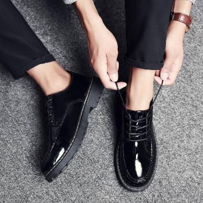 รองเท้าคัชชูผู้ชาย ✤รองเท้าหนังผู้ชายสีดำเวอร์ชั่นเกาหลีของผิวสดใส Yingmun แนวโน้มหัวกลมนักเรียนสายรัดเยาวชนชายสบาย ๆ รอ