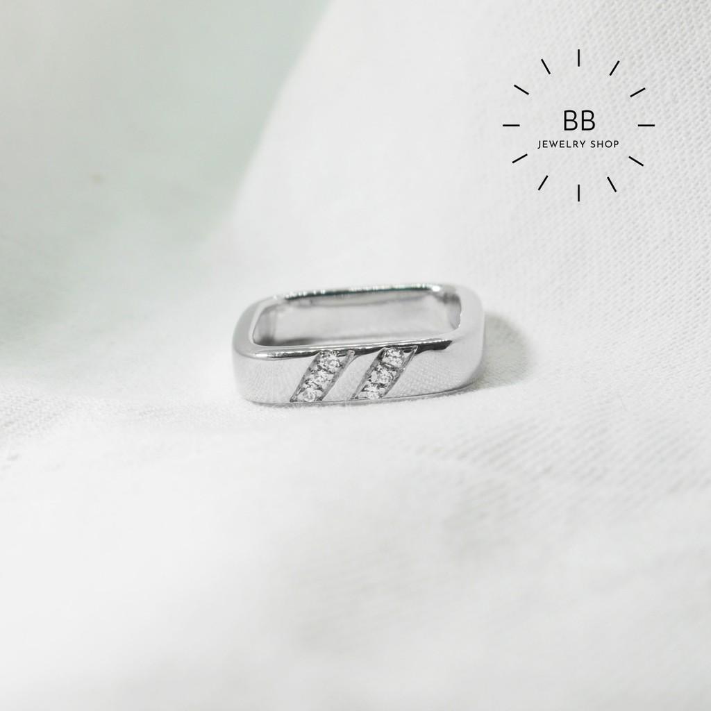 แหวนเงินแท้ 925 ประดับด้วยเพชรสวิส พร้อมชุบทองคำขาวน่ารัก ราคาถูกๆ ( Size 56 ) ไม่สามารถทำไซร์ได้