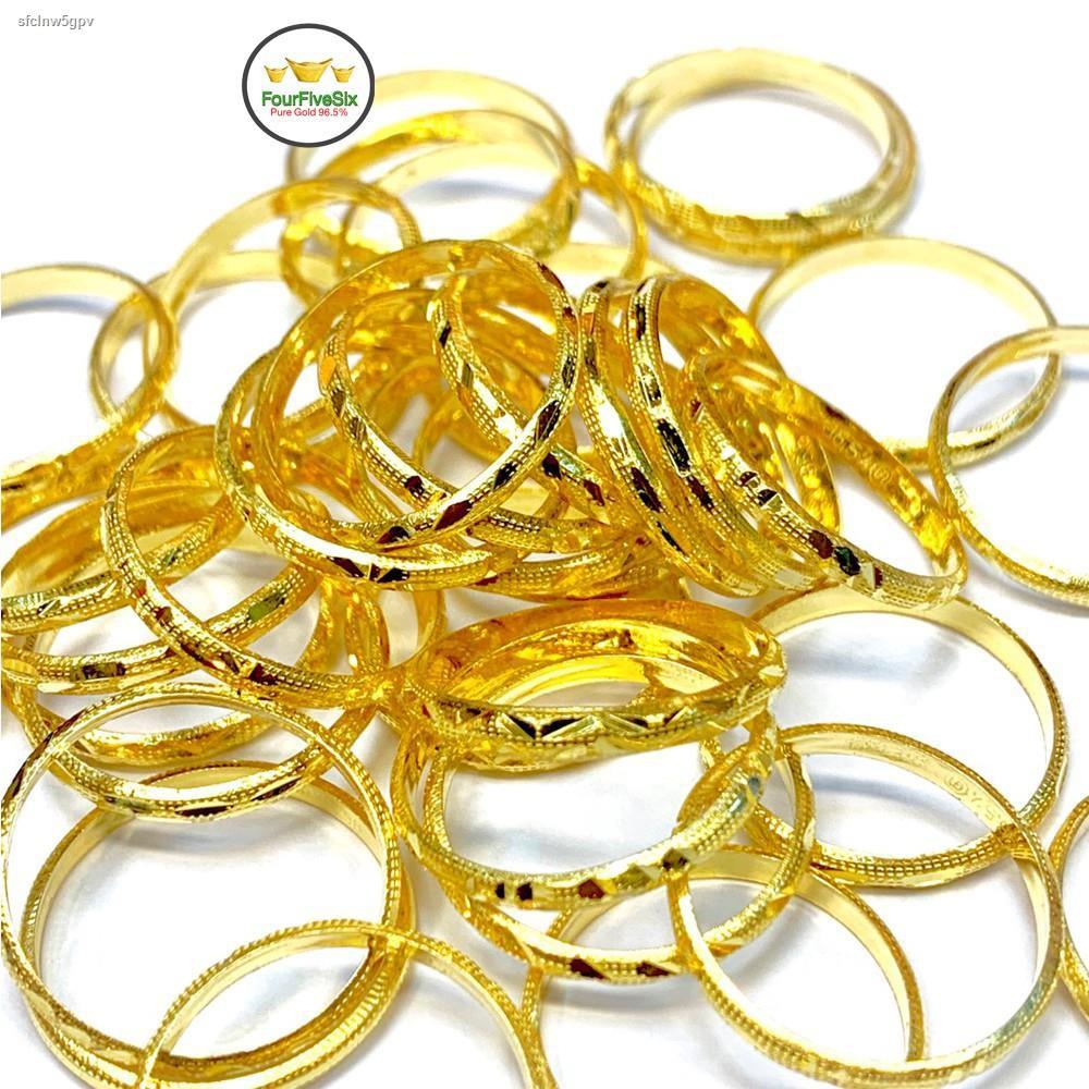 ราคาต่ำสุด♤✕☜FFS แหวนทอง 0.6 กรัม รอบวง คละลาย หนัก0.6กรัม ทองคำแท้96.5%