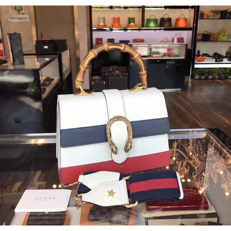 [ML]เคาน์เตอร์ยุโรปซื้อ GUCCI 448075 Dionysus สีขาวต่อสู้แถบสีฟ้าสีแดงหนังกระเป๋าสะพายกระเป๋าถือกระเป๋า
