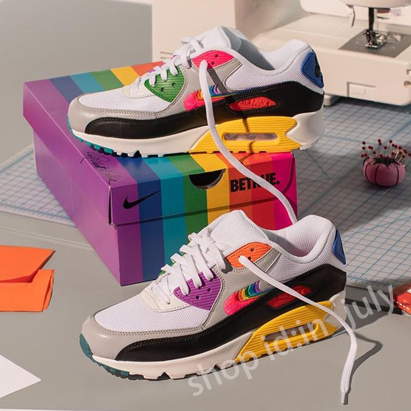 100% Origina Nike Air Max 90 รองเท้าผ้าใบลําลองสําหรับผู้ชายผู้หญิงสีรุ้งเหมาะกับการวิ่ง