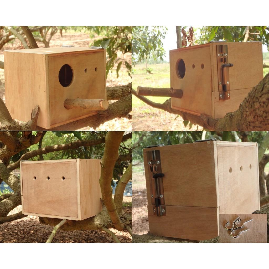 กล่องนก กล่องเพาะนก รังเพาะนก บ้านนก 20x15x13CM.