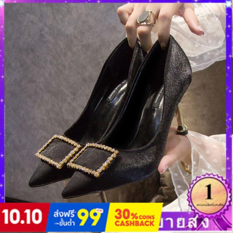⭐👠รองเท้าส้นสูง หัวแหลม ส้นเข็ม ใส่สบาย New Fshion รองเท้าคัชชูหัวแหลม  รองเท้าแฟชั่นรองเท้าส้นสูงสีดำเพศหญิงใหม่แฟชั่นอ
