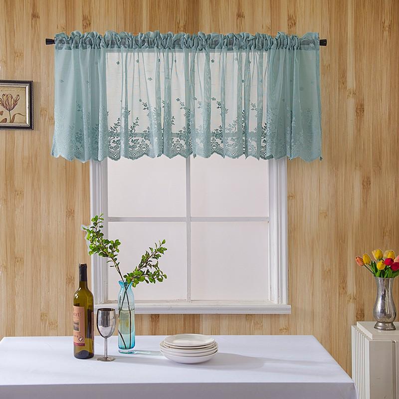 【Mimi】โรงงานโดยตรงห้องครัวม่านกาแฟขนาดเล็กสดสำเร็จรูปสวมใส่ก้านผ้าม่านขนาดเล็กลูกไม้สีฟ้าม่านสั้น