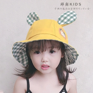 2021 Baby Fisherman Hat Boy and Girl Basin Cap Summer Children's Cartoon Rabbit Ears Sun Protection Hats(2-4 Years)