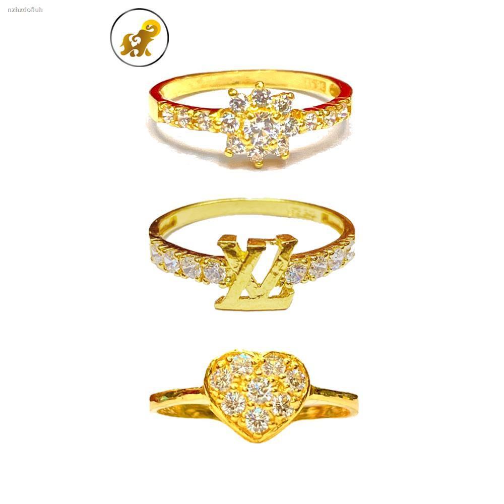 ราคาต่ำสุด❈☢❐PGOLD แหวนทองครึ่งสลึง เพชรสวิสหัวใจ หนัก 1.9 กรัม ทองคำแท้ 96.5% มีใบรับประกัน