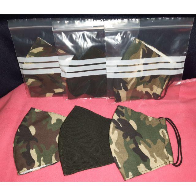 พร้อมส่ง ผ้าปิดจมูกทหารบก 3 สี มีสีผ้าชุดอ่อนทหาร , สีชุดฝึกลายพรางสีเข้ม ,สีลายพรางสีอ่อน เย็บ2ชั้น ชั้นในเป็นผ้ามัสลิน