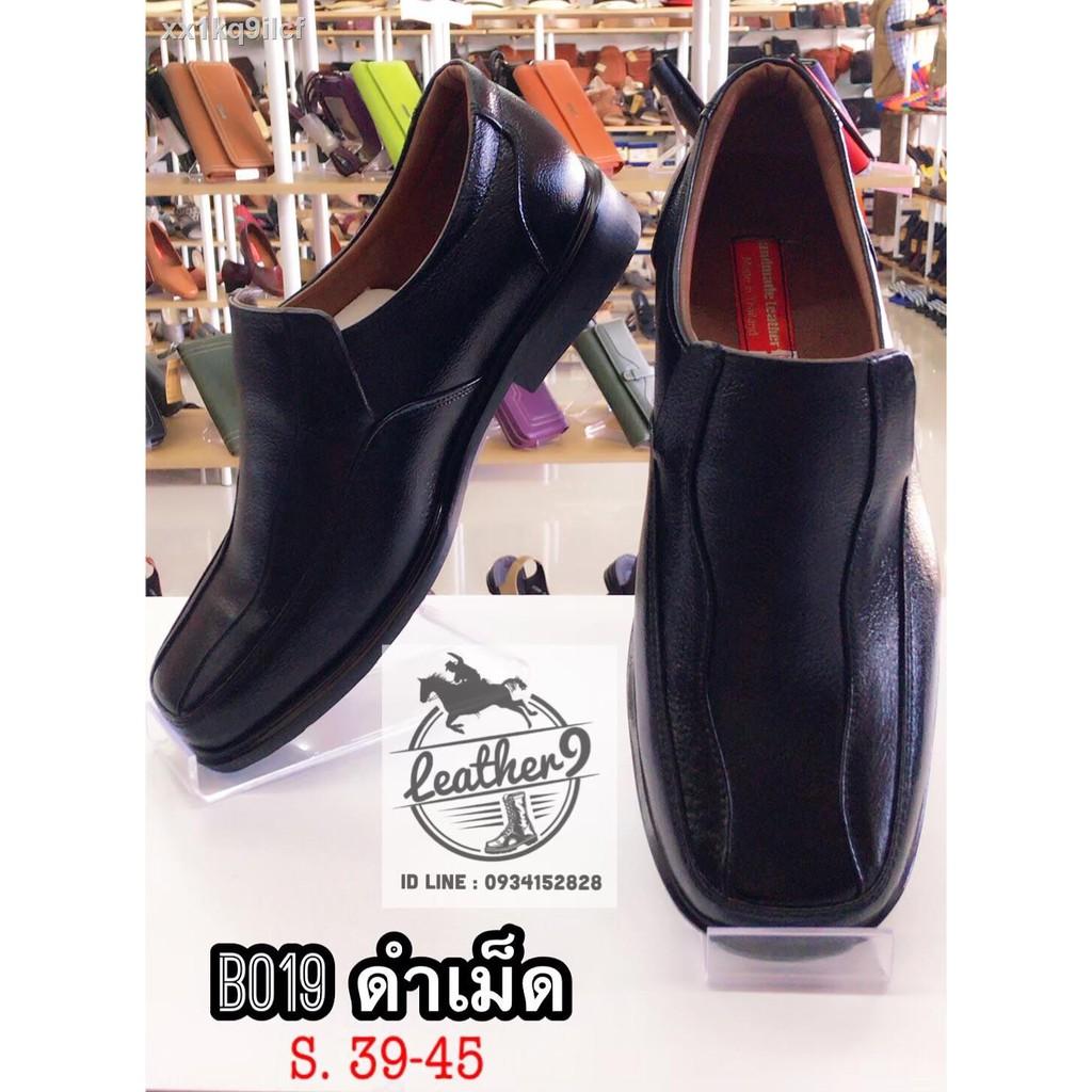 รองเท้าหนังผู้หญิง▽✢รองเท้าหนังแท้ รองเท้าคัชชูหนังแท้ชาย รองเท้าหนังวัวแท้ 100% รองเท้าหนังแท้เย็บมือ รุ่นB019 สีดำเม็ด