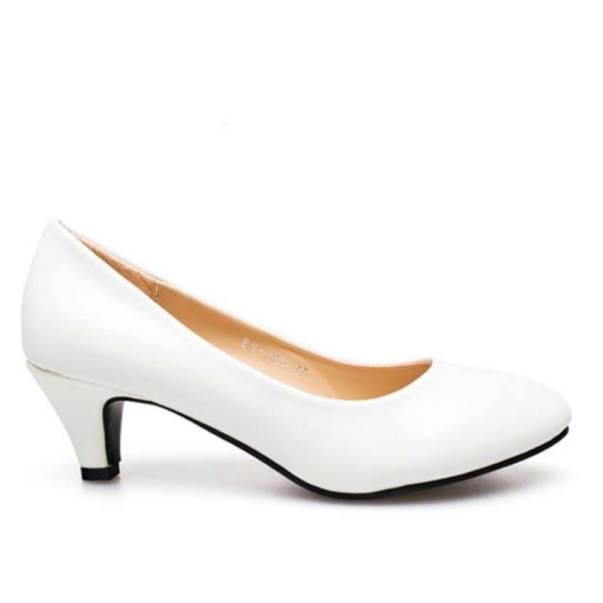 Ruay Tang รองเท้าแฟชั่นคัชชูส้นสูงผู้หญิง รองเท้าพยาบาล ( สีขาว )