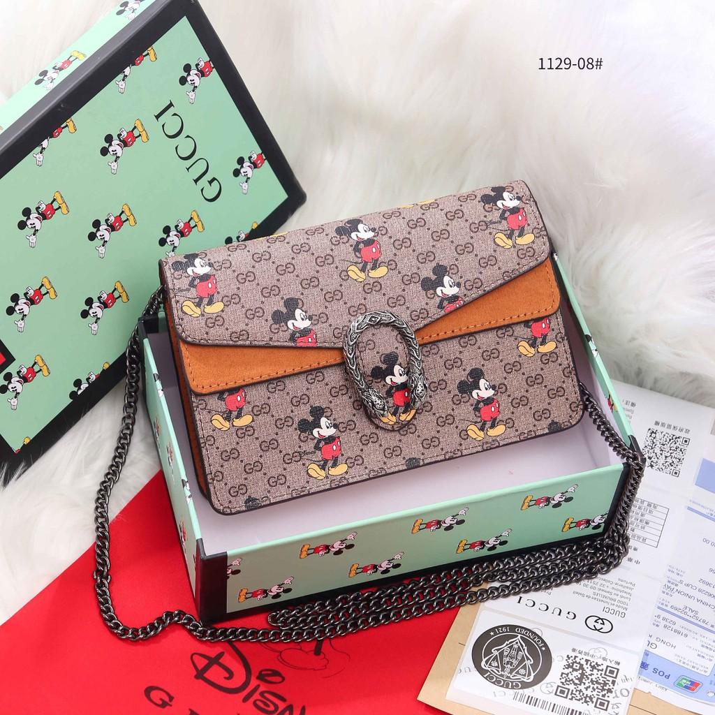 Gucci X Disney Mickey Dionysus Gg กระเป๋าสะพายไหล่พิมพ์ลายมิกกี้ 1129-08