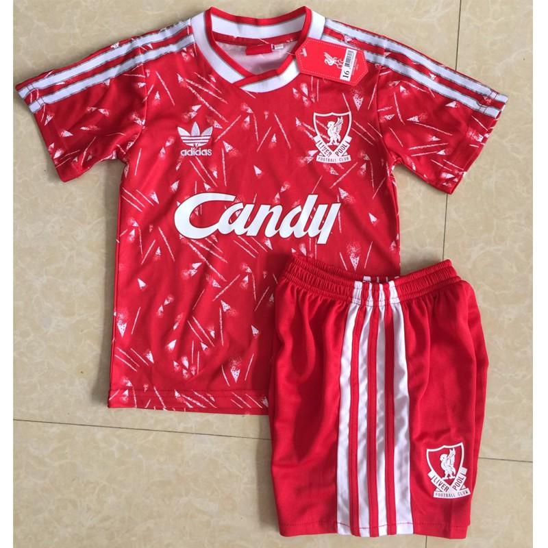 คุณภาพสูงสุด ลิเวอร์พูล 1989-91 Kits Liverpool Home ย้อนยุค เสื้อฟุตบอล เด็ก Football Soccer Jersey Suits for Kids 1-13 Years