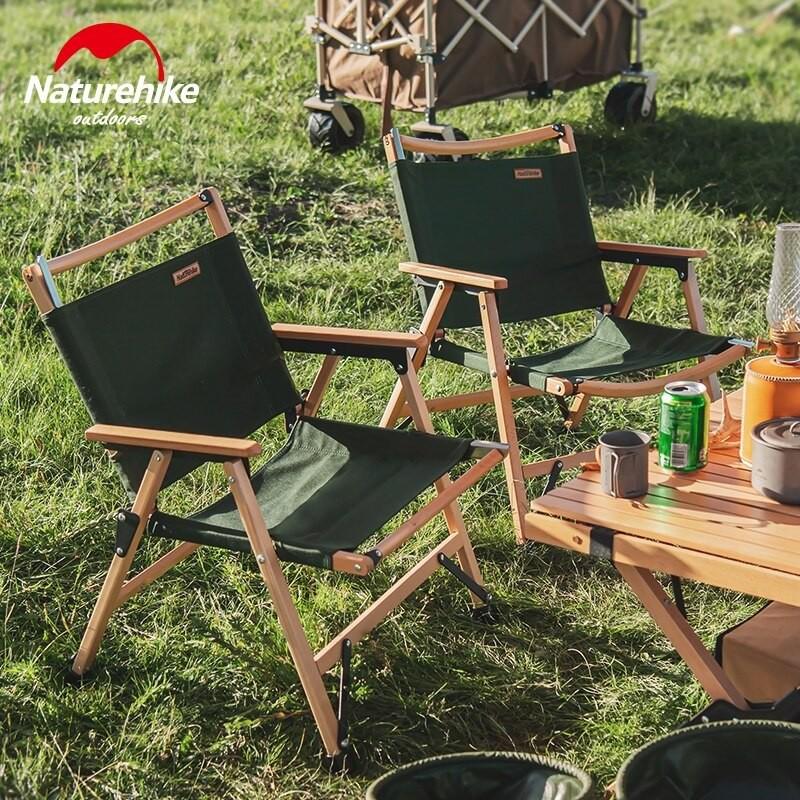 เก้าอี้แค้มปิ้ง เก้าอี้โครงไม้พับได้ Naturehike Outdoor Folding Wooden Chair