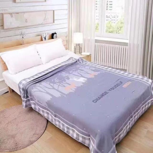 ผ้าห่มสาลู3ชั้น6ฟุตคอตต้อน100%(ขนาด180*220)