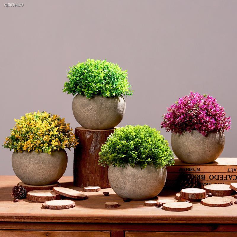 การจำลองพันธุ์ไม้อวบน้ำ◆♈การจำลองความคิดสร้างสรรค์ พืชสีเขียว หญ้า ลูกบอล กระถางต้นไม้ห้องนั่งเล่นห้องนอนโต๊ะปลอมบอนไซตก
