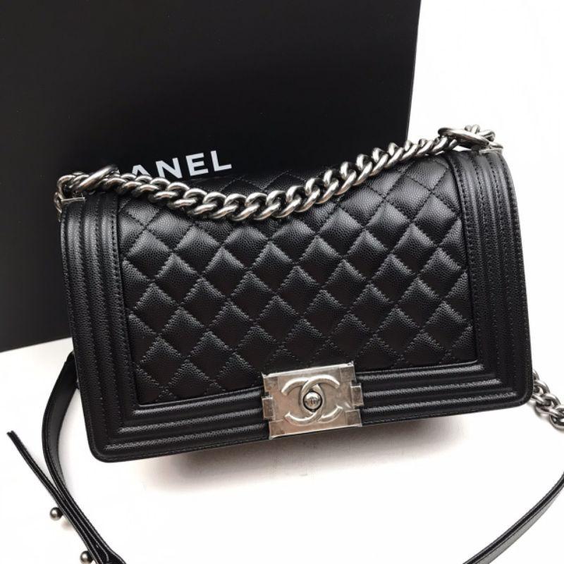 """New Chanel Boy 10"""" Black Caviar Rhw"""