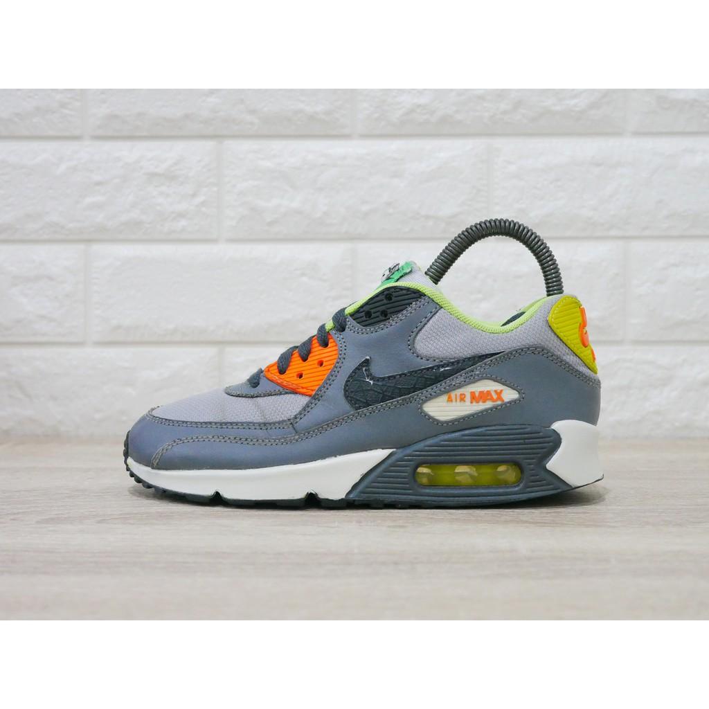 Nike Air Max 90  Black OrangeGrey Green  มือสอง Size36.5ของแท้100%