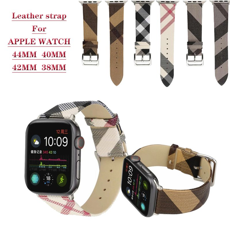 Plaid Pattern Genuine leather strap for apple Watch band 44 mm 40MM for iWatch Series 5 4 3 2 42mm 38mm Bracelet wrist w
