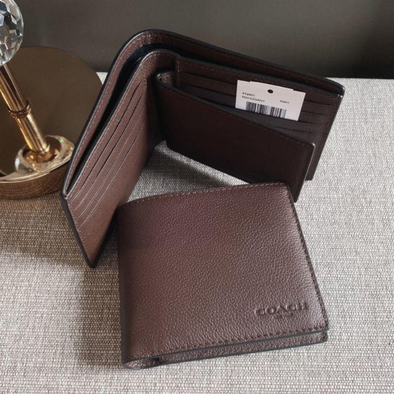 กระเป๋าสตางค์ผู้ชายใบสั้นหนังสีน้ำตาลมะฮอกกานี COMPACT ID IN MAHOGANY SPORT CALF LEATHER (COACH F74991)
