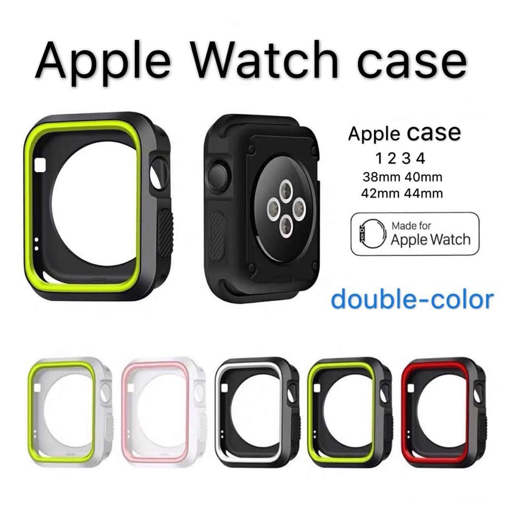 เคส Apple Watch 1 2 3 4 5 series TPU + PC ซิลิโคนสองสี case iWatch For ขนาด 38 40 42 44 mm