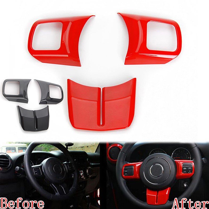 3PCS ABS Red Interior Steering Wheel Cover Trim Strip For Honda CIVIC 2016-2018