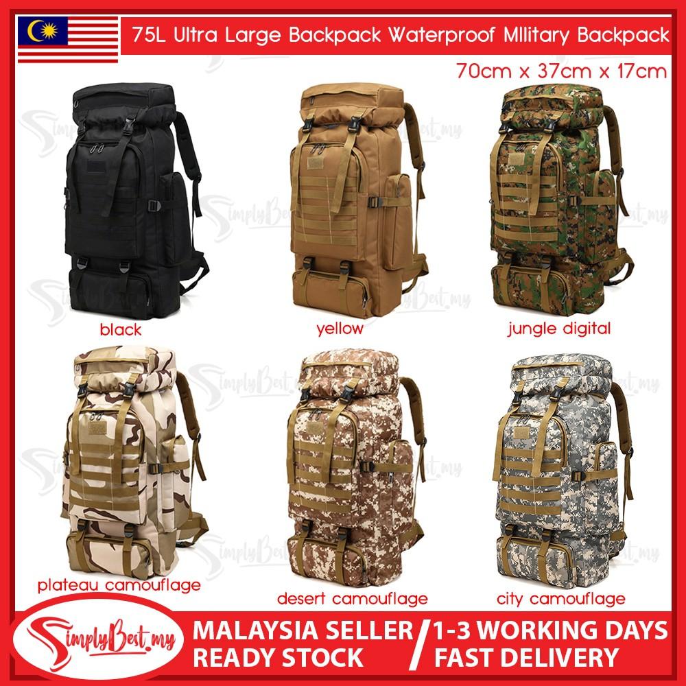 65L Tactical Rucksack Molle Assault Backpack Bag for Hiking Black