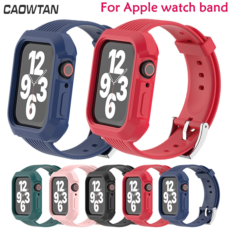 Silicone Sports Band for Apple Watch 6 se Strap 38 42MM Bands+case set Rubber Watchband for Iwatch series 6 5 4 3 40 44m