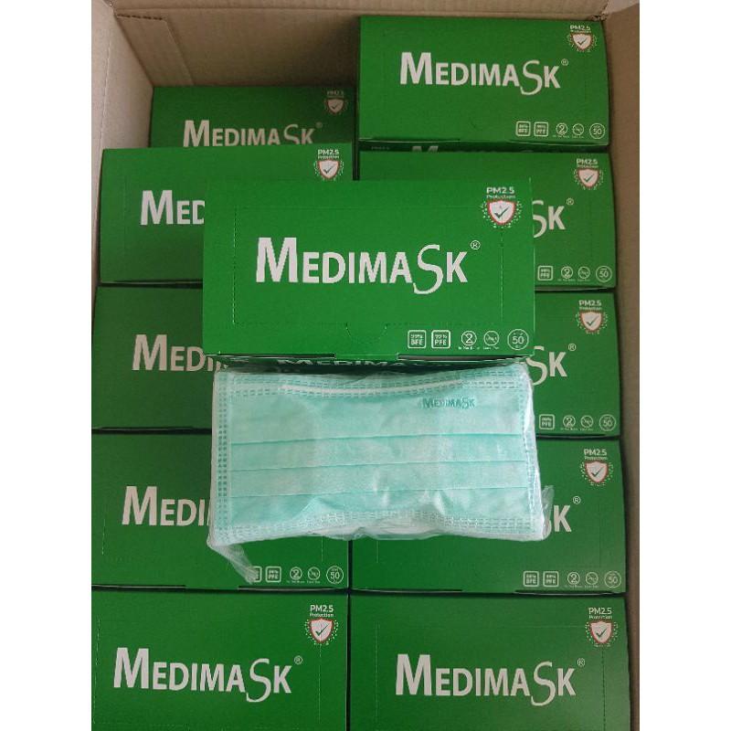 Medimask สีเขียว หน้ากากอนามัยทางการแพทย์ 3 ชั้น งานไทย ขายส่ง ขายยกลัง(20 กล่อง/ลัง)