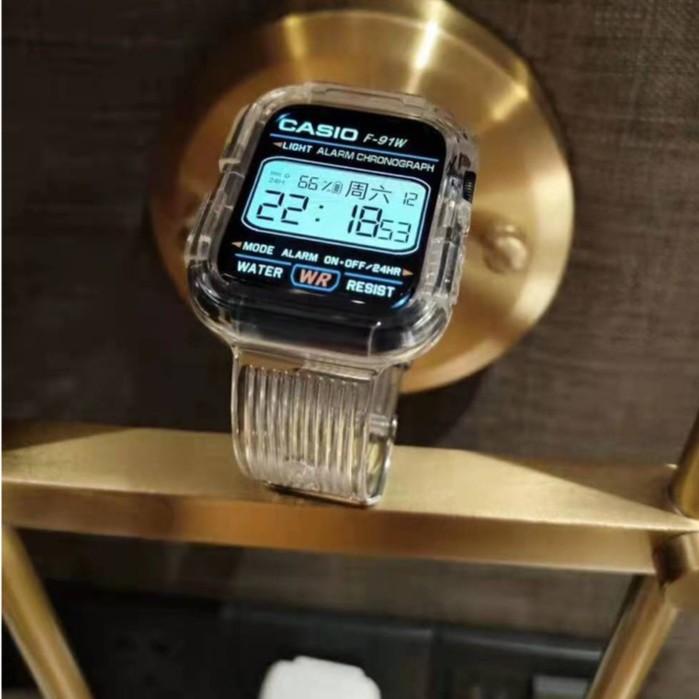 2021 โปร่งใสสายรัด + เคสป้องกัน AppleWatch Strap สายซิลิโคน iWatch Series SE 6 5 4 3 2 1สาย applewatch38 40 42 44mm