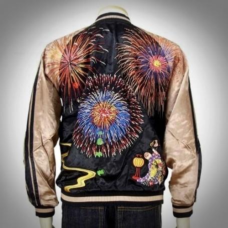 SUKAJAN แบรนด์แท้ญี่ปุ่น  Japanese Souvenir Jacket  แจ็คเกตซูกาจันลาย  BIG FLARES