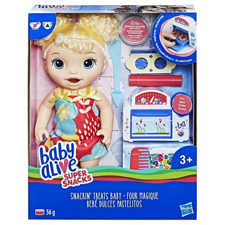 Hasbro E1947 Blonde Curly Hair Baby Alive Snackin/' Treats Baby