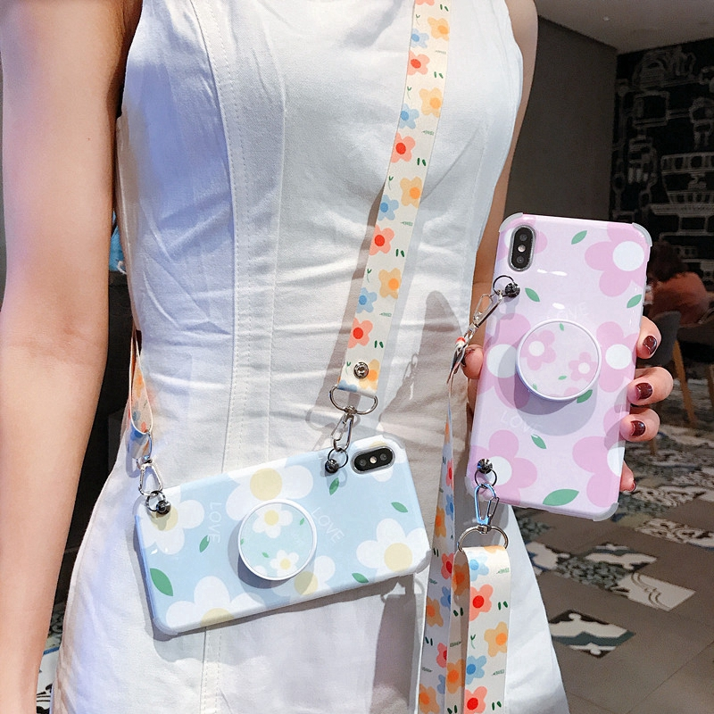 With Lanyard Flower Shockproof Case IPhone X XS Max XR IPhone 6 6S 7 8 Plus Gasbag Stand