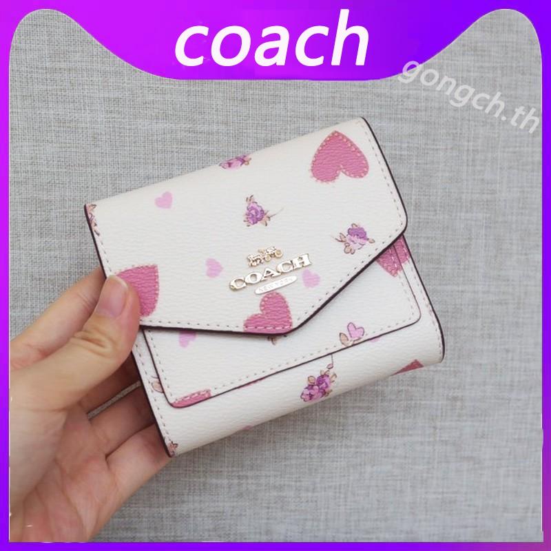COACH กระเป๋าสตางค์ใบสั้น แบบพับได้