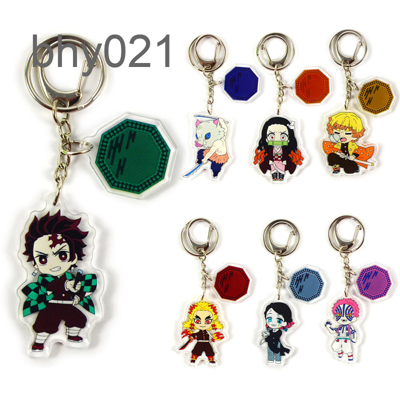 Demon Slayer Anime Character Acrylic Pendant Keyring Keychain Key Chain Ring