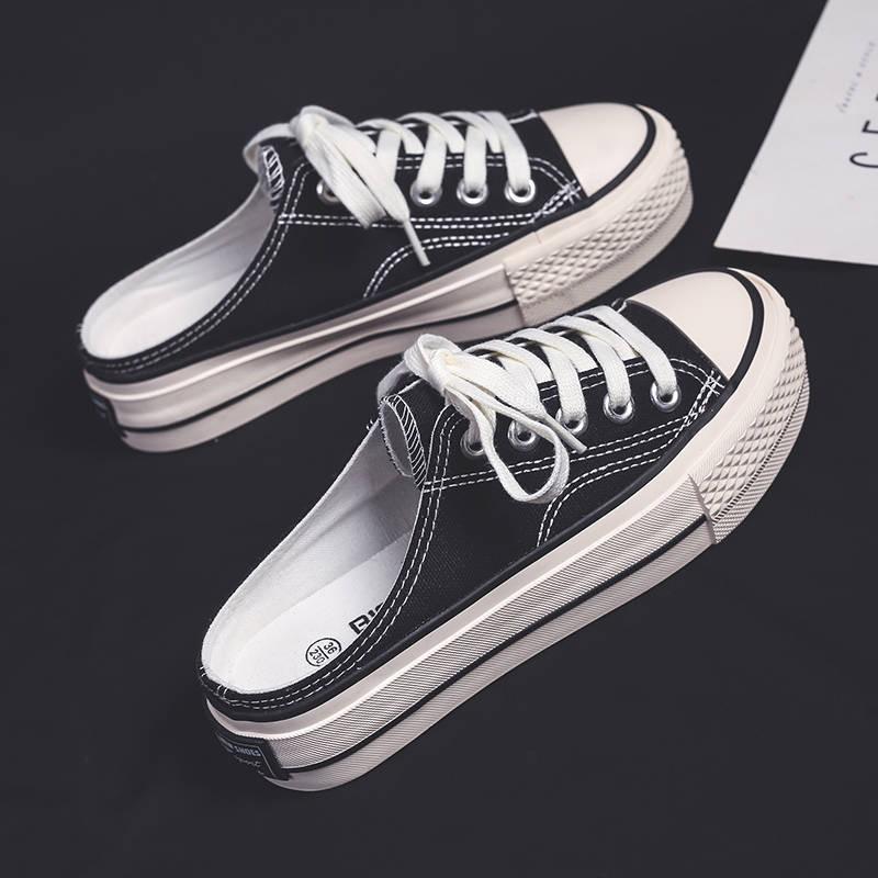 รองเท้าคัชชูเปิดส้น รองเท้าคัชชูเปิดส้นผู้หญิง รองเท้าผ้าใบสีดำกึ่งลากผู้หญิงตาข่ายสีแดงหนาหนาด้านล่างลมนักเรียน, นักเรี