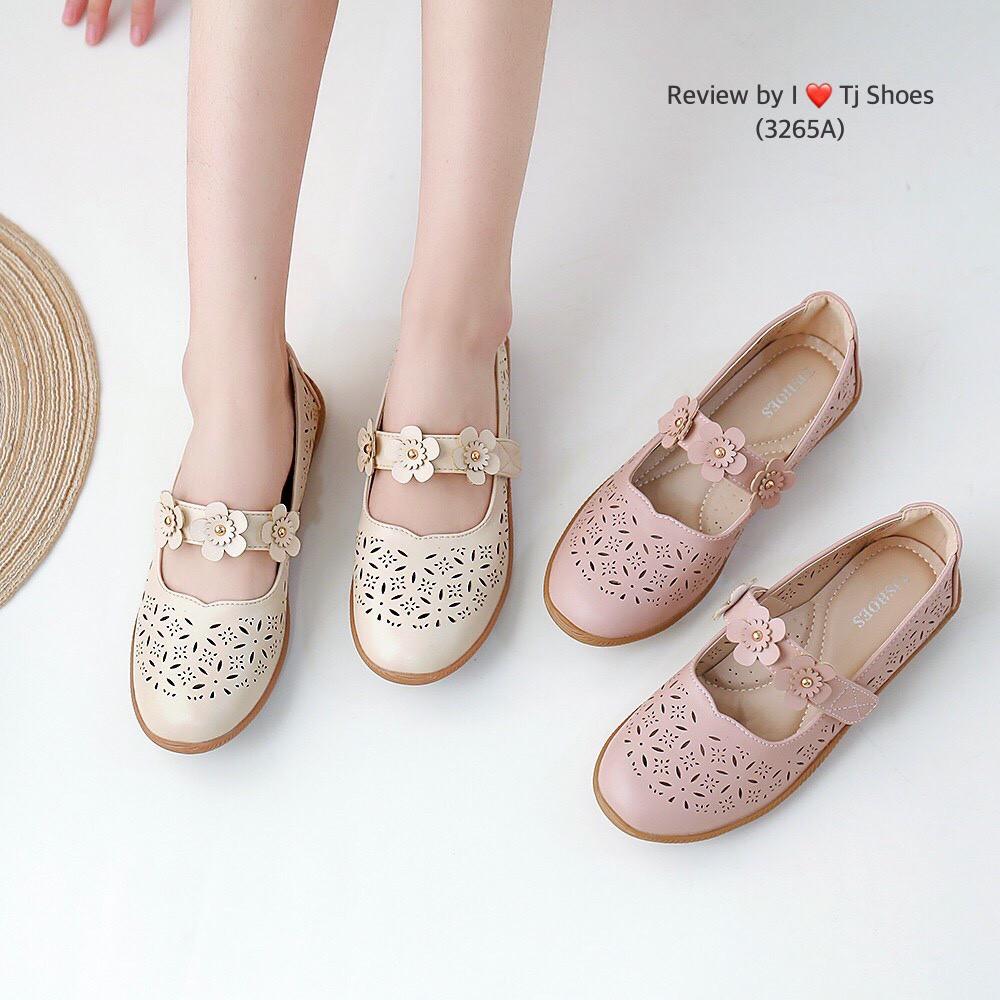 ไซส์36-41 รองเท้าเพื่อสุขภาพผู้หญิง Tj Shoes 3265A นุ่มเบาใส่สบาย คัชชู ลำลองหุ้มส้น หนังนิ่ม น้ำหนักเบา ผ้าใบ ไซส์พิเศษ