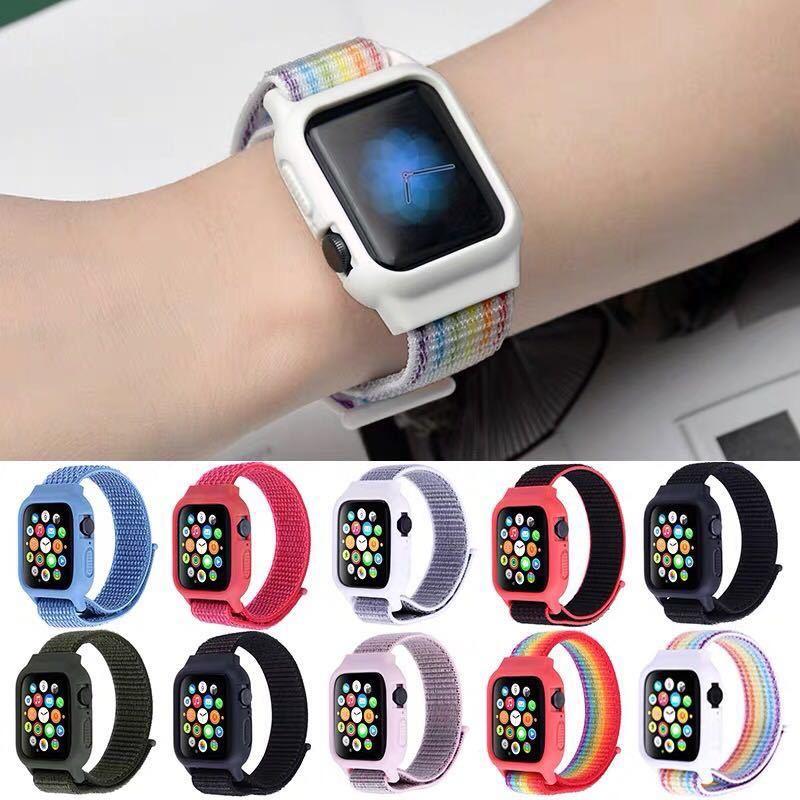 (Case + Strap) Apple Watch Bahan Nilon สำหรับ Apple Watch Series iWatch Pro iWatch 6 5 4 3 2 1
