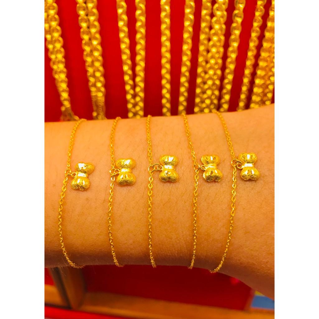 ข้อมือทองคำแท้ นำ้หนัก 1 กรัม  ลายโบว์ ทองคำแท้ 96.5% มีใบรับประกันสินค้า น้ำหนักเต็ม ราคาโดนใจ
