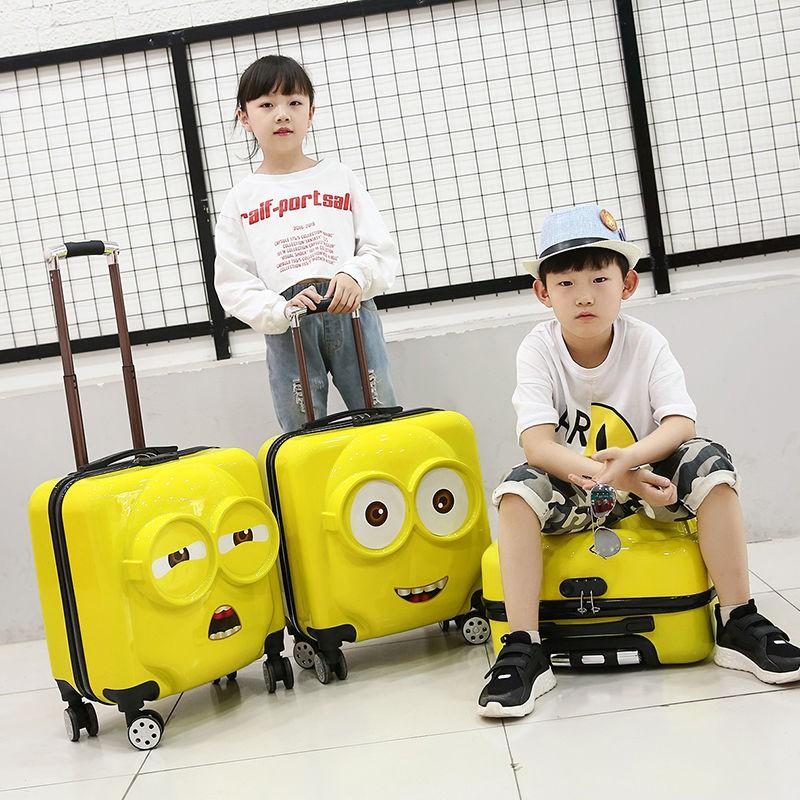 ﹦○ กระเป๋ารถเข็นเดินทาง กระเป๋าเดินทางพกพา กระเป๋าเดินทางเด็ก รถเข็นเด็กการ์ตูนกระเป๋าเดินทางเป็ดน้อยสีเหลืองหมีน้อยเป็ด