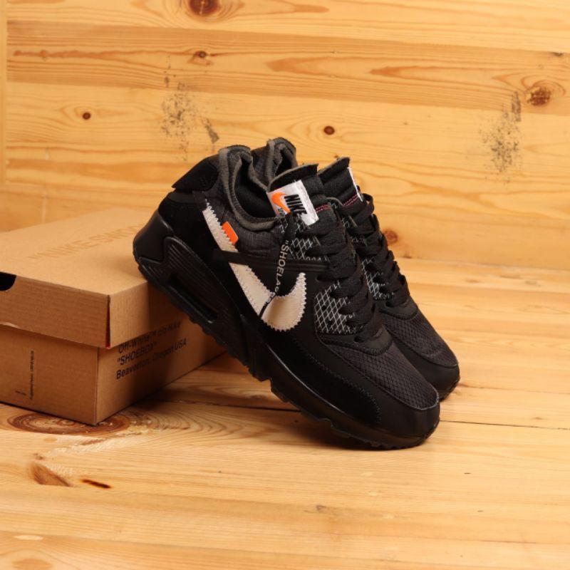 Nike Airmax 90 Black X Off White รองเท้าผ้าใบลําลองสีขาว