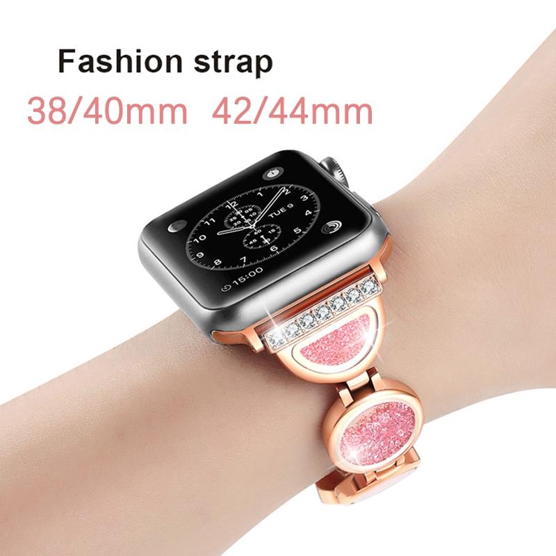 สายคล้องนาฬิกาข้อมือแสตนเลสแต่งจิวเวอรี่สําหรับ apple watch series 5 4 3 2 1 band 42 มม 44 มม
