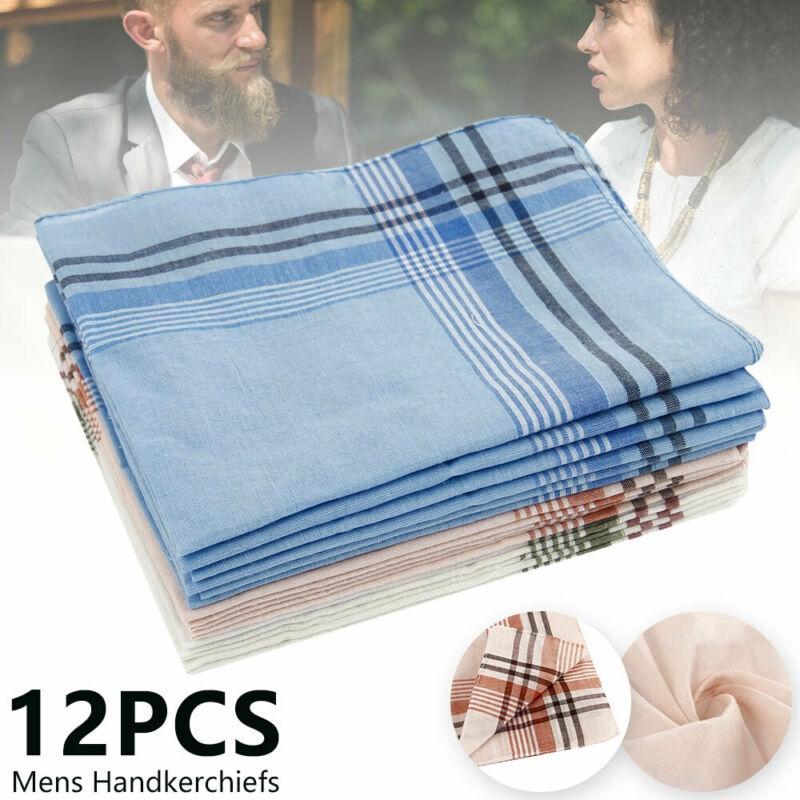 Pack of 12 White Luxury 100/% Cotton Men/'s Hemmed Stitched Handkerchiefs,40x40cm