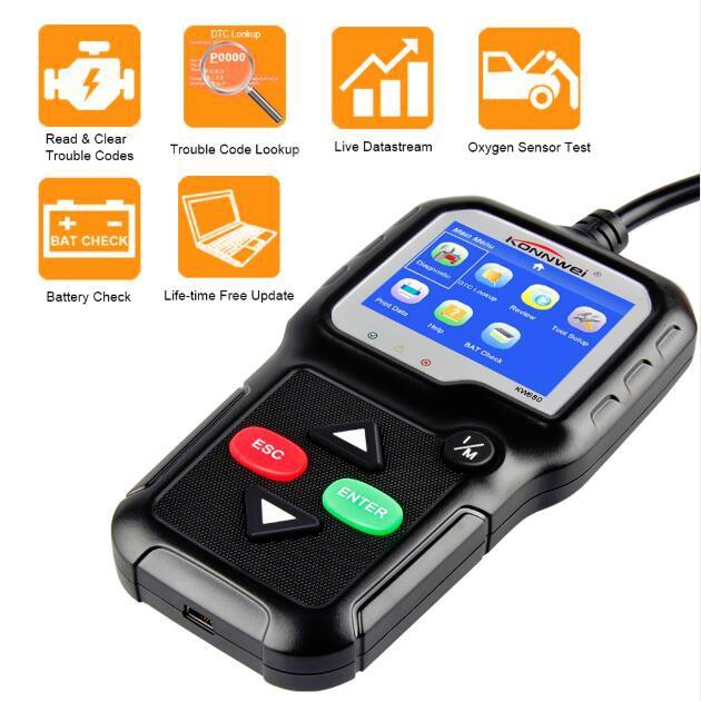KONNWEI ODB2 Automotive Scanner Supports Multilingual OBD2 Scanner OBD II  Auto Diagnostic-Tool KW680 For More Petrol Car