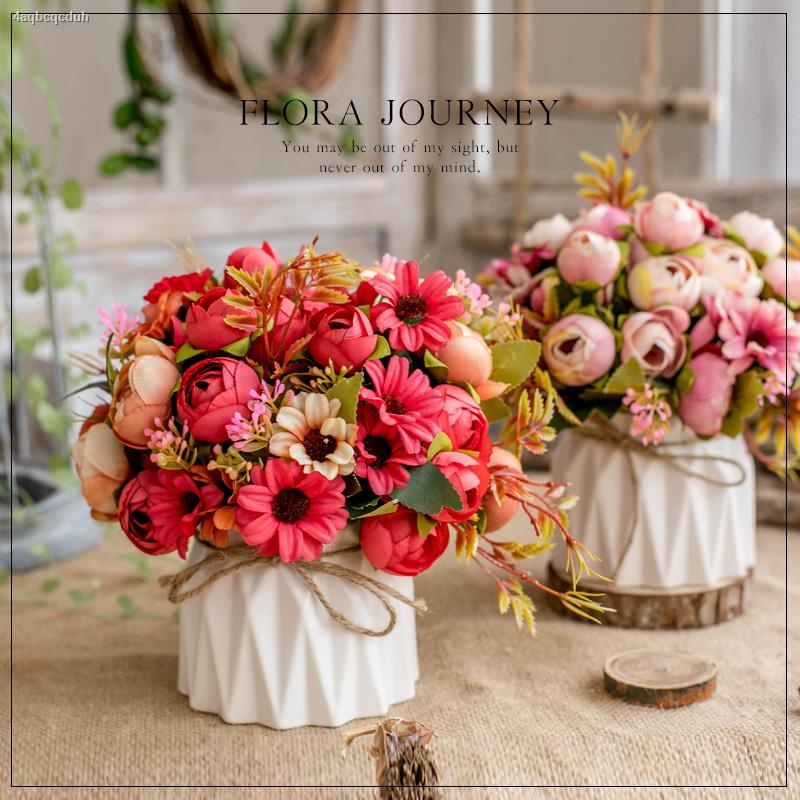 การจำลองพันธุ์ไม้อวบน้ำ⊕♙ปลอมดอกไม้กระถางห้องนั่งเล่นตกแต่งโต๊ะรับประทานอาหาร huajuan ดอกไม้ตู้เย็นบนโต๊ะกาแฟตกแต่งพลาสต